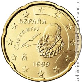Монета 20 евро центов испании 1999 2009