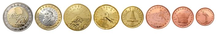 Евро монеты словении цена 10 рублевой монеты 2000 года
