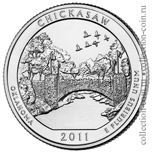 2011-25-czentov-naczionalnaya-zona-otdyxa-chikaso-quarter-dollar-chickasaw-national-recreation-area